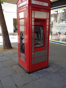 Technology has advanced so far that phone-booths now come with ATMs, now we can take out money while talking to friends and family! (Was that too sarcastic? I feel like that was too sarcastic…interesting use of a phone-booth nevertheless.)